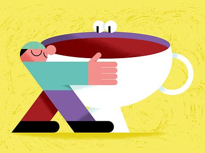 I love coffee hugging love hug guy man cup coffee love coffee illustrated poster poster illustration