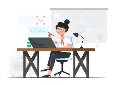 The Designer Girl illustration office pen pen tool ui designer text wacom 2d illustration designer girl girl designer graphic design design illustration