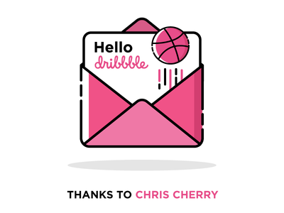 Hello Dribbble invitation ball pink first dribbble thanks hello envelope