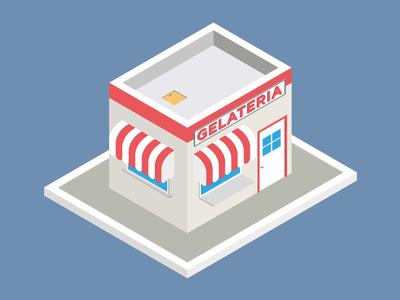 ice-cream shop flat design 3d red isometric shop ice cream