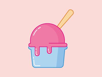 Ice cream cup cream ice illustration vector summer cup flat design pink ice cream