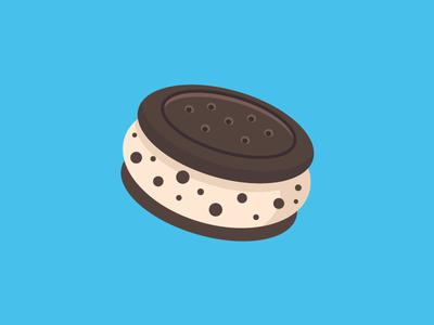 Ice cream biscuit biscuit oreo ice cream blue flat design chocolate stick summer vector illustration ice cream