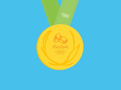 Gold medal - Rio 2016 vector sport rio 2016 rio olympics game olympics medal illustration gold medal gold flat design flat