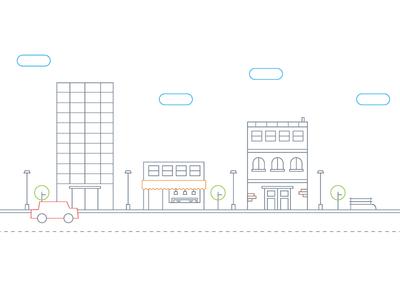 Business city grey white line colors city minimal outline