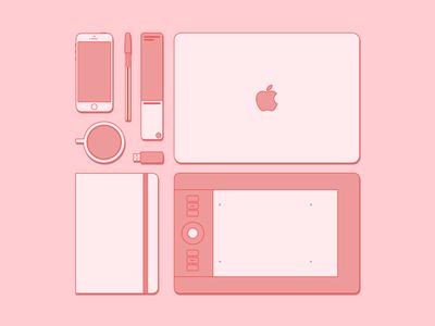 Essentials of graphic designer designer elements monocromo flat pink red essentials