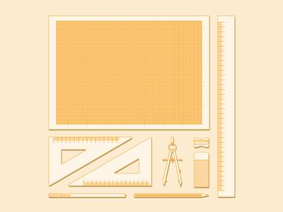 Essentials of architect design architect elements monocromo flat orange essentials