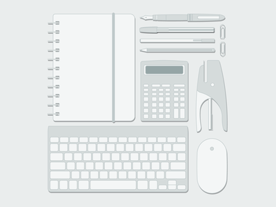 Essentials of office worker office worker worker office elements monocromo flat grey essentials