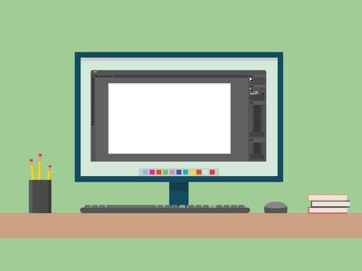 Desktop Publishing - TAG desk mouse keyboard monitor adobe tag book pencil desktop vector