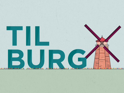 Tilburg netherlands tilburg windmill wind mill holland vintage retrò vector