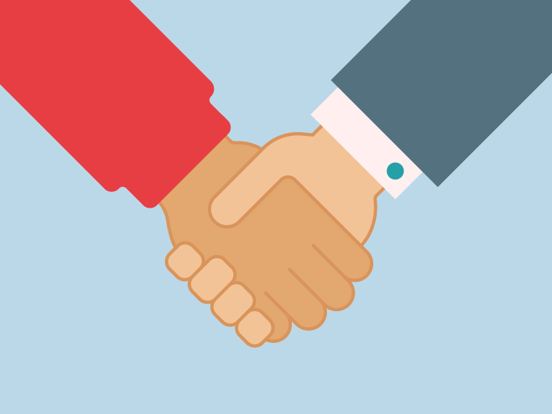 Handshake flat. color hand vector handshake
