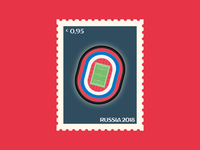Lužniki Stadium of Moscow stamp world cup light football stadium soccer fifa world cup russia