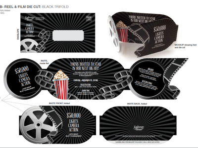 Reel & Film Die-Cut INVITE logo illustration vector typography design branding