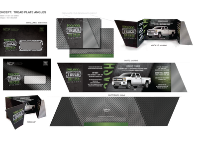 Cash & Truck Giveaway Invitation vector logo design branding typography