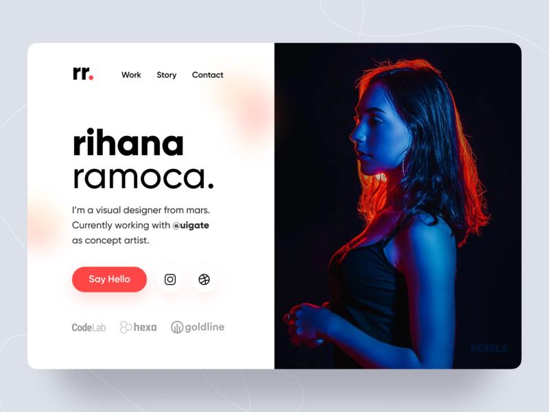 rihana - Single Page Profile card gilroy minimal web color portfolio landing page single page