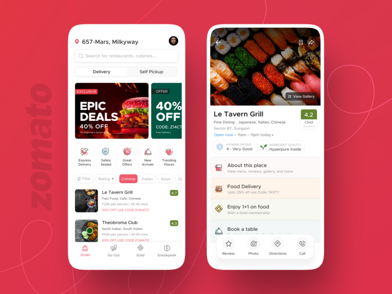 Zomato app restaurant red design system sushi clean card food food delivery iphone app zomato