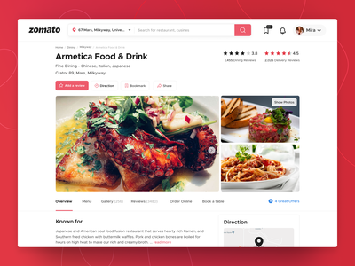 Fresh restaurant page for you! clean ui ui landing page design minimal food delivery food app restaurant web website landing page