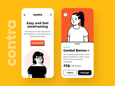 Contra Wireframe Kit card app iphone minimal color clean mobile uikit wireframe