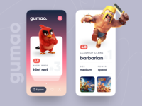 gumao - game character collector card mobile angry bird game app ui ux daily minimal iphone