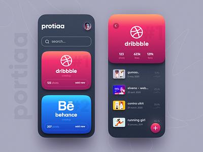 protiaa app ui social app app gradient neomorphism cards ui social minimal ios ux daily ui