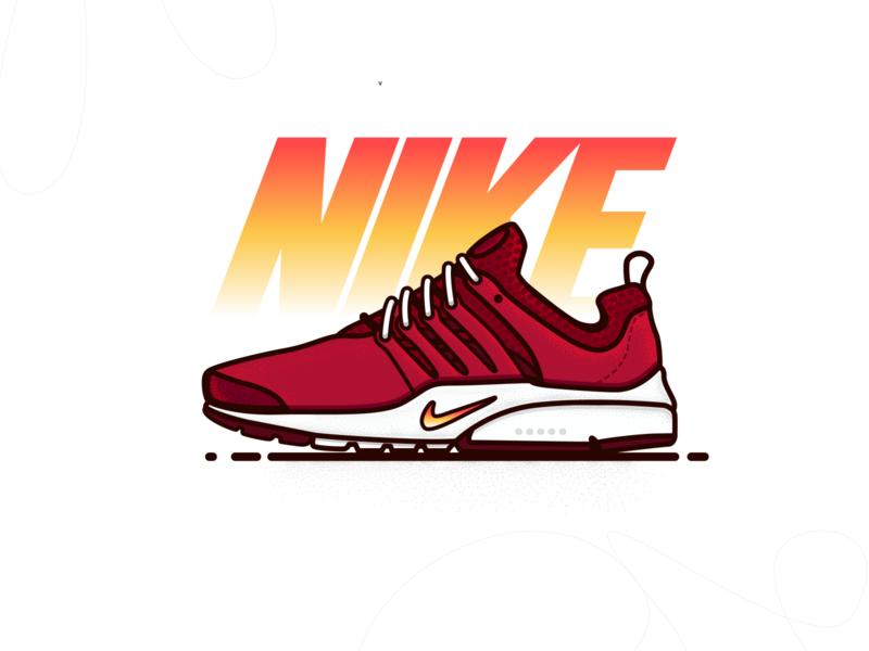 nike air presto procreate branding nike shoes gradients adobe illustrator nike illustrator gradient colors shoe graphic lineart illustration