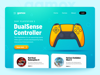 Gamox - Game portal landing page game controller web design product webdesign website design game card landingpage webpage ps5 controller playstation5 colorful minimal web landing page