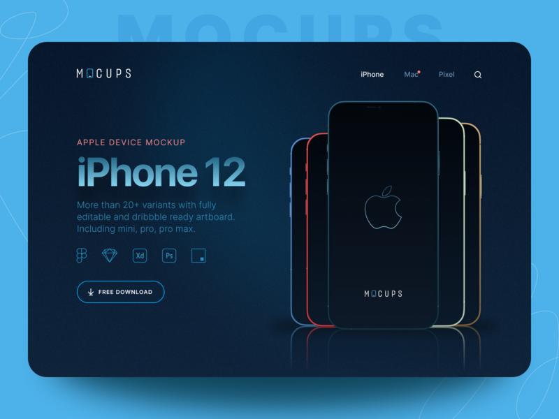 mocups - Freebies iPhone 12 Mockups apple mockup device mockup outline app minimal mockup iphone 12 ios14 mockup iphone