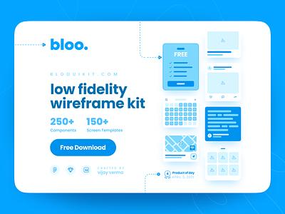 Bloo Lo-fi Wireframe Kit low fidelity lo-fi blueprint prototype mockup iphone minimal clean wireframe ux ui open source