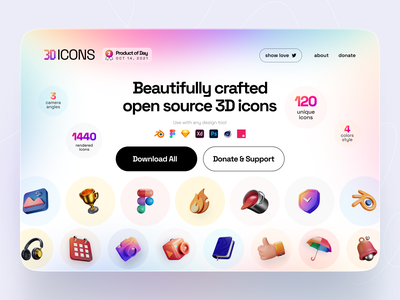 3dicons - open-source 3D icon library 3d illustration blender 3d model 3dicons icons graphic design 3d
