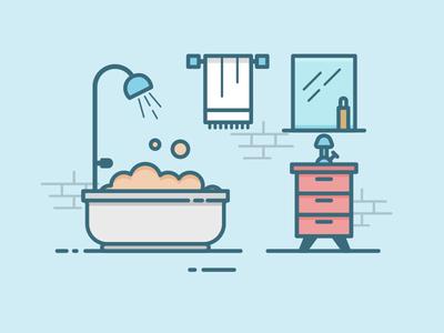 Bathroom minimal blue outline room bathroom lineart interior flat daily 100days