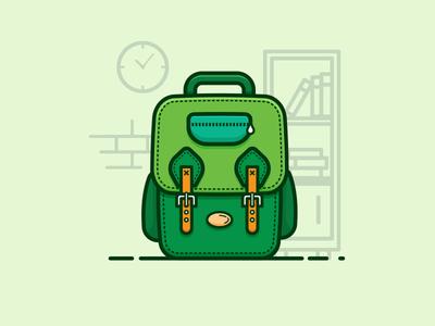 School Bag green bag school bag 100days daily illustration lineart minimal flat