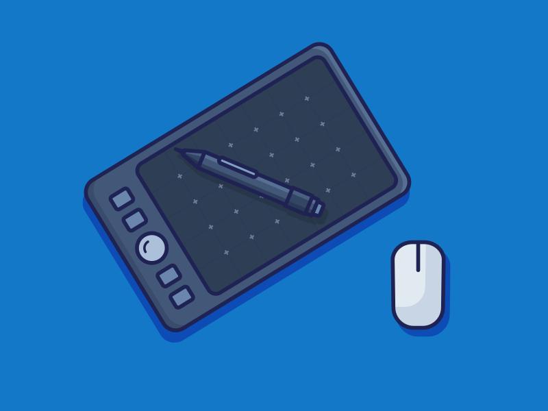 Designer Favorite Tool Sequel tablet mouse wacom 100days daily blue minimal pen designer tool pencil