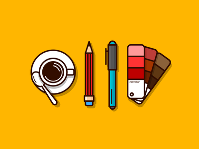 Designer's Tool Essential pencil designer tool pen minimal yellow daily 100days pantone color guide color
