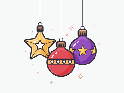 Christmas balls red lineart christmas minimal flat xmas ornaments balls 100days santa