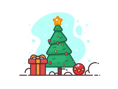 Merry Christmas happy new year green christmas tree daily 100days snow winter gift santa christmas
