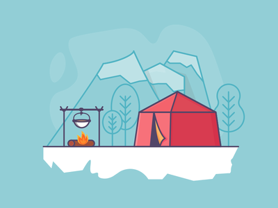 Camping lineart minimal daily 100days blue hill fire camp camping