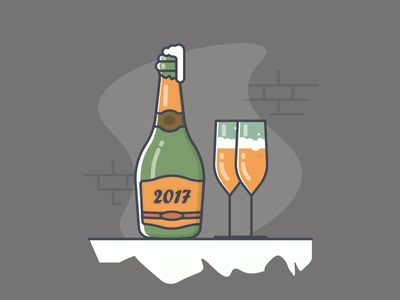 Champagne drink celebrate lineart happy new year minimal 100days champagne