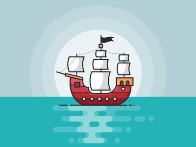 Pirate Ship minimal blue 100days pirate boat boat ship