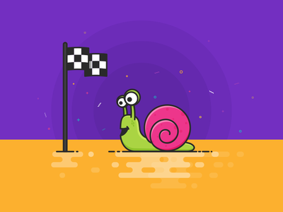 The Snail lineart minimal violet yellow finish line challenge snail 100days