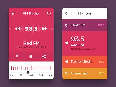 Radio UI Concept freebie app mobile list fm color ux ui radio ui