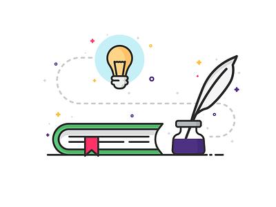 Blog Writing Illustration lineart minimal journal idea notebook inkpot pen write blog