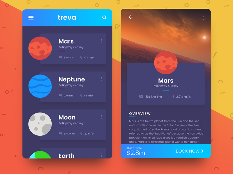 Space Travel UI by Vijay Verma