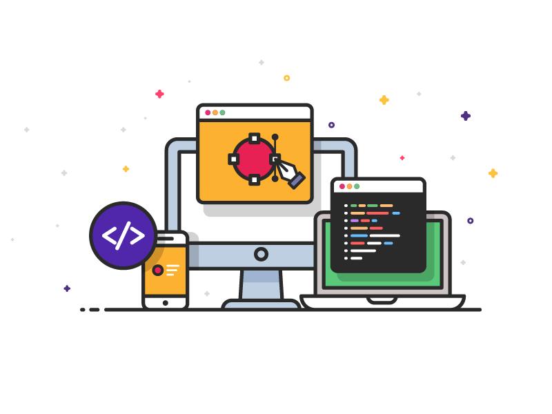 App Development lineart minimal app workspace desktop designe development