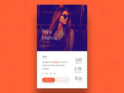 Profile Card UI flat freelancer android minimal mobile dailyui invite profile ui ux app