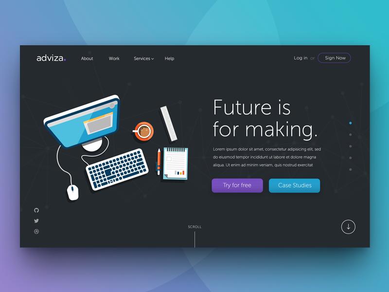 Parallax Scrolling Webpage - Adviza  scrolling ux web design parallax advertisment website sale flat ui startup landing page