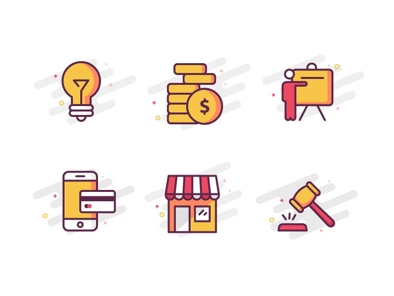 Icon Set iconset yellow payment money idea illustration lineart icon
