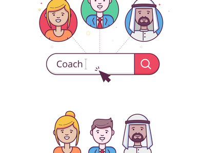Character illustration arab boy girl lineart minimal search profile character avatar