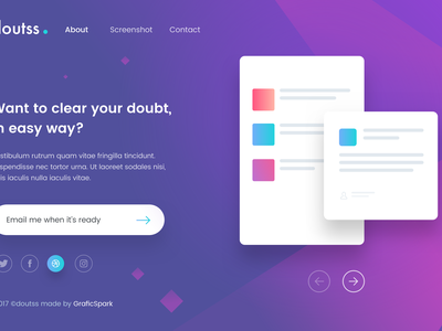 Doutss Landing Page - Freebies Day #7 doutss web landing page language visual design subscribe social app color landing minimal flat webdesign