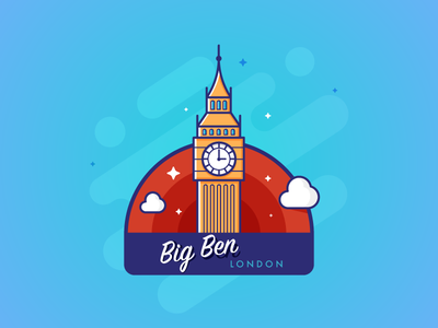 Big Ben - Stickermule lineart tower uk bigben london stickermule sticker