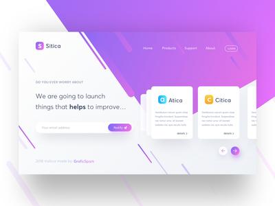 Freebie - Sitica Landing Page Concept #2 web flat freebies landing page minimal webdesign app