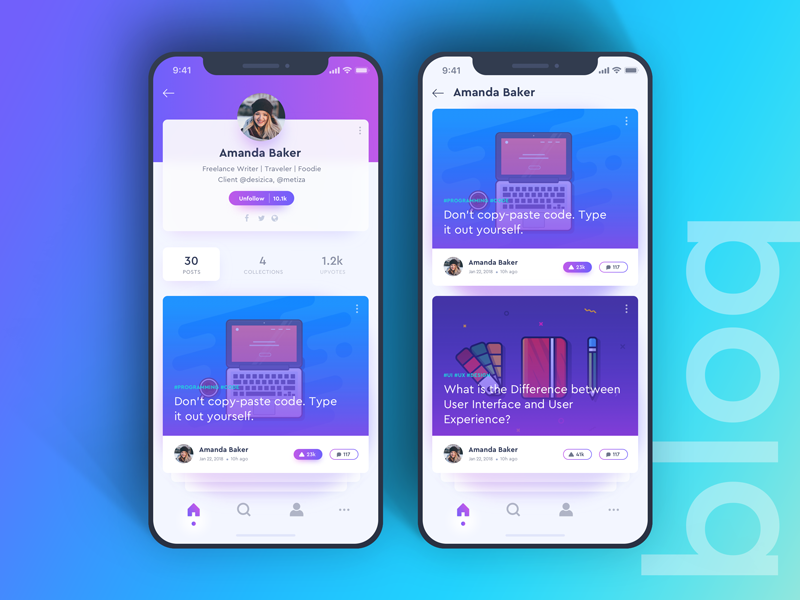 Blog Post Profile Concept blog profile post iphonex ios ui interface